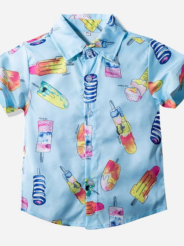 Kids Toddler Boys' Street chic Geometric Short Sleeve Shirt Light Blue