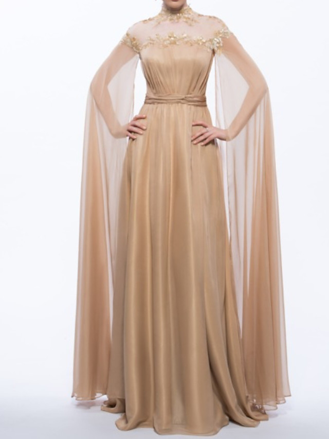 Sheath / Column Vintage Sexy Engagement Formal Evening Dress Jewel Neck Long Sleeve Floor Length Chiffon with Pleats 2020
