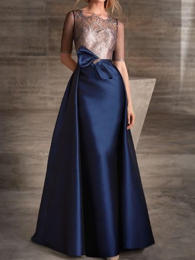 A-Line Color Block Elegant Engagement Formal Evening Dress Illusion Neck Half Sleeve Detachable Lace Satin with Bow(s) 2020