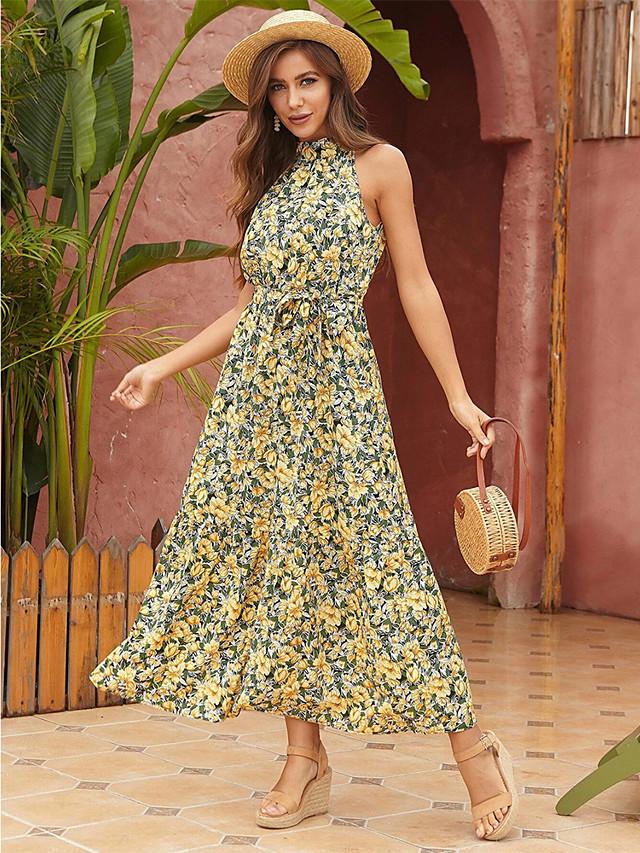 Γυναικεία Φόρεμα ριχτό από τη μέση και κάτω Μακρύ φόρεμα - Αμάνικο Φλοράλ Καλοκαίρι mumu 2020 Κίτρινο Τ M L XL
