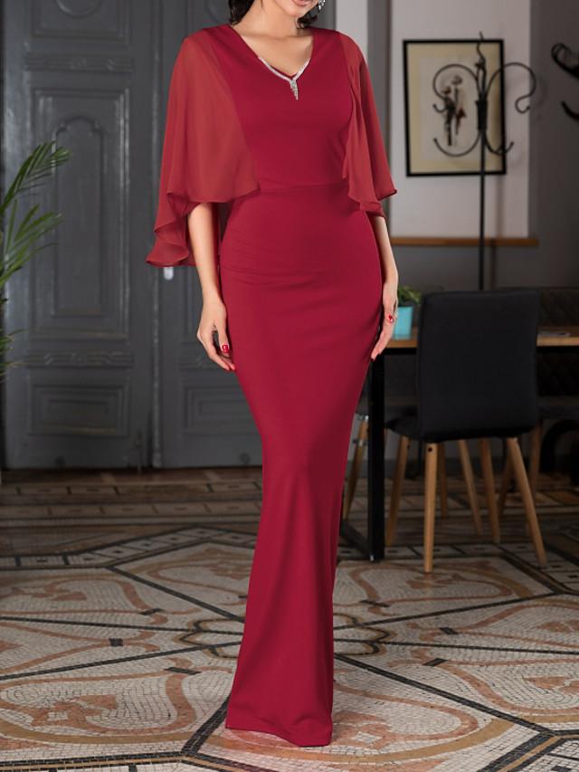 Mermaid / Trumpet Elegant Reformation Amante Engagement Formal Evening Dress V Neck Half Sleeve Floor Length Spandex with Sleek 2020