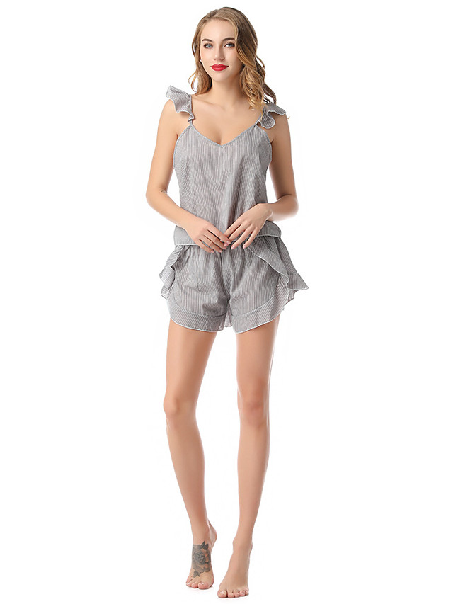 Women's Lace Backless Cut Out Robes Suits Nightwear Geometric Solid Colored White / Gray One-Size