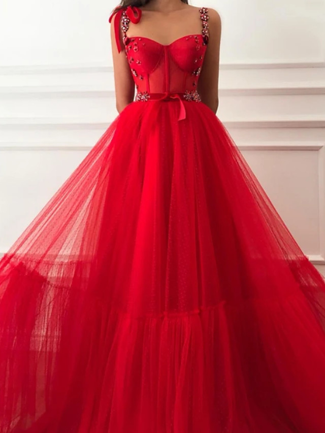 A-Line Glittering Sexy Engagement Formal Evening Dress Sweetheart Neckline Sleeveless Sweep / Brush Train Tulle with Beading 2020