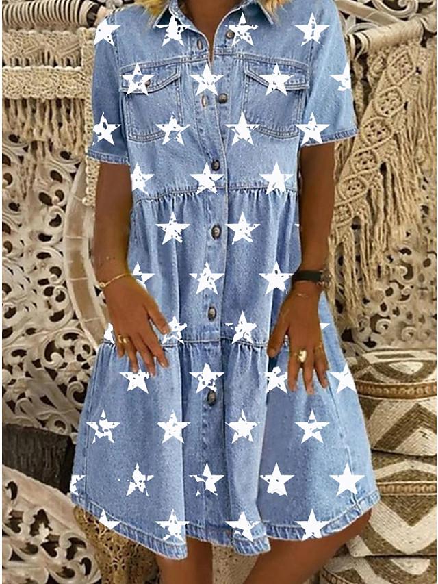 Women's Denim Shirt Dress Knee Length Dress Blue Short Sleeve Star Button Front Print Summer Shirt Collar Casual 2021 M L XL XXL 3XL