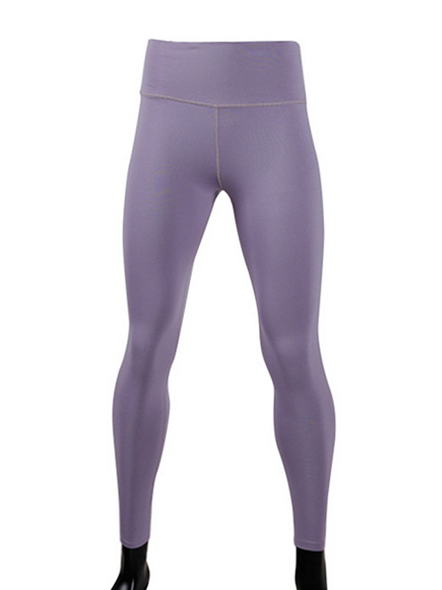 Women's Yoga Basic Legging Solid Colored Mid Waist Purple XS S M / Slim