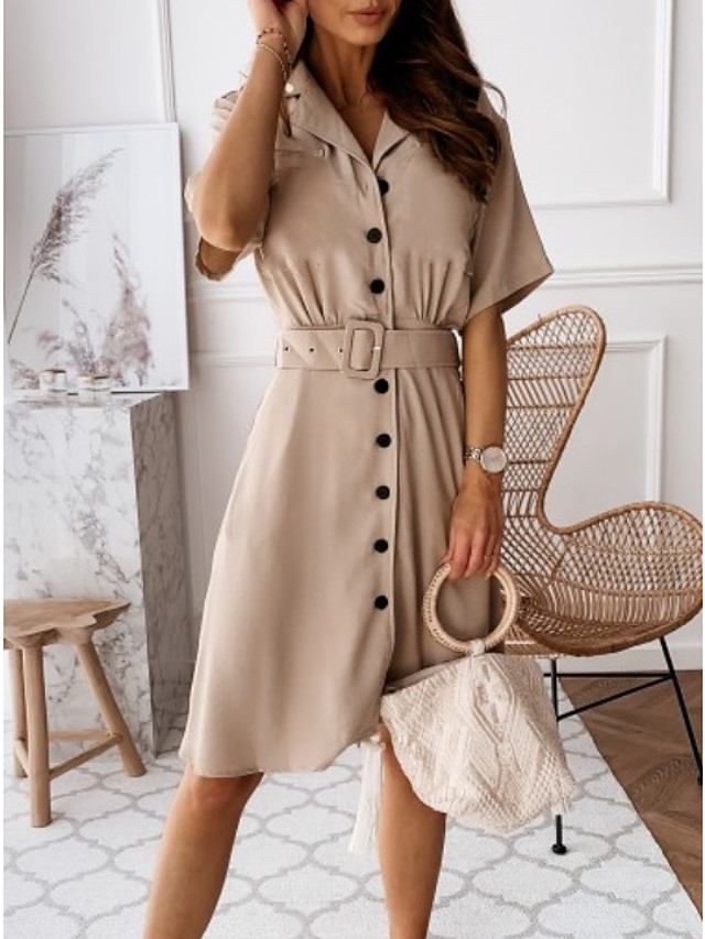 Women's A-Line Dress Knee Length Dress - Half Sleeve Solid Color Summer Work 2020 Black Army Green Khaki Light Blue S M L XL XXL XXXL