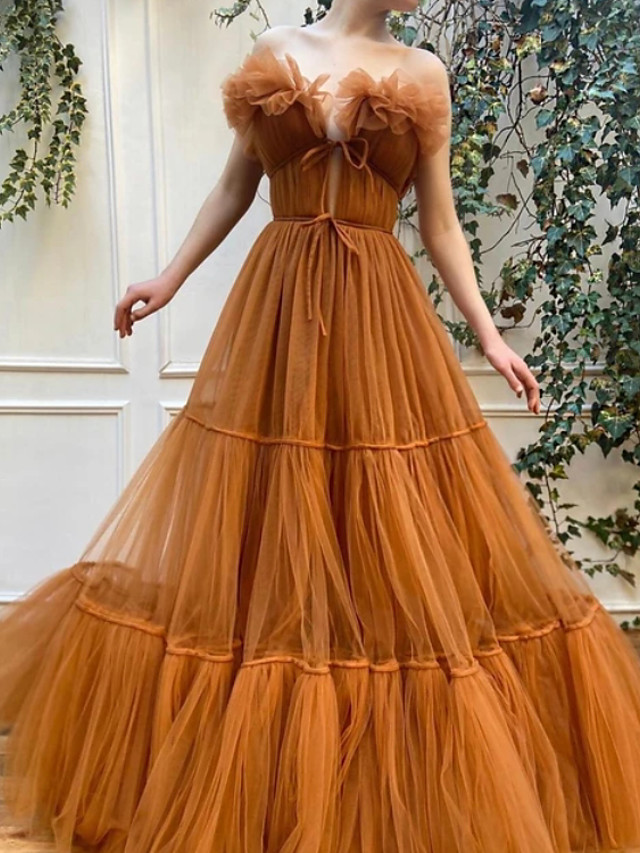 Ball Gown Luxurious Vintage Engagement Formal Evening Dress Off Shoulder Sleeveless Floor Length Tulle with Pleats 2020