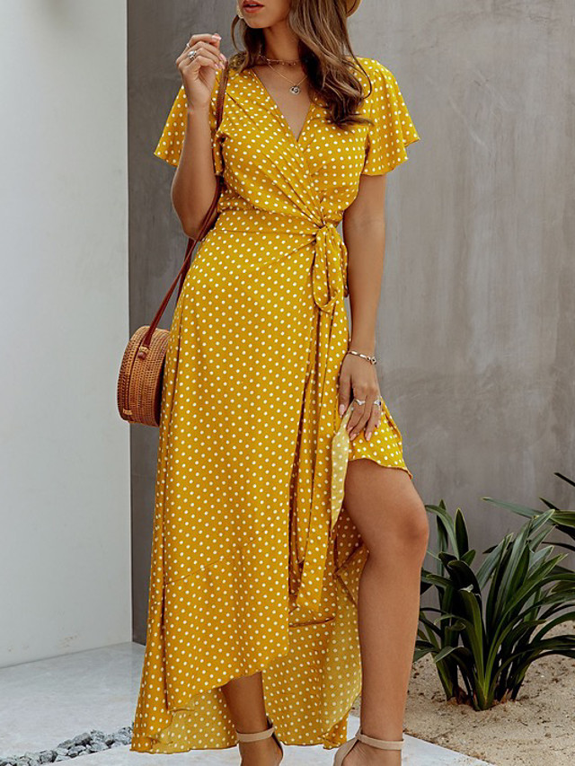 L M S BLACK//BEAD Lime Flower Print Short Sleeve Summer Beach Party Dress