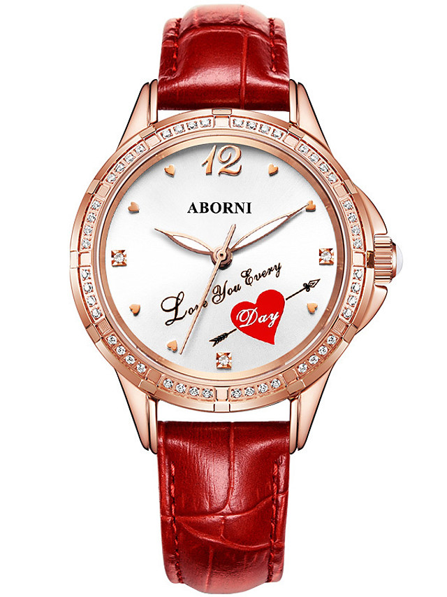 Women's Quartz Watches Quartz Heart Stylish Heart shape Water Resistant / Waterproof Genuine Leather Analog - White Red Blushing Pink