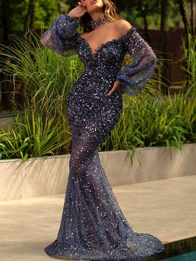 Mermaid / Trumpet Sexy Sparkle Engagement Formal Evening Dress V Neck Long Sleeve Sweep / Brush Train Sequined with Sequin 2020