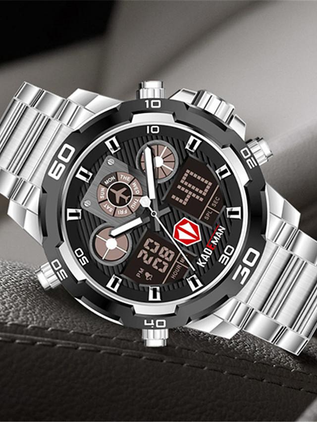 KADEMAN Men's Sport Watch Quartz Modern Style Stylish Outdoor Alarm Clock Stainless Steel Analog - Digital - Black+Gloden Black Blue / Noctilucent
