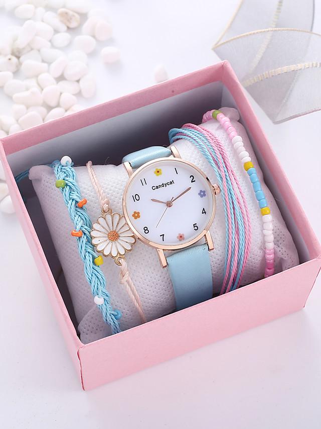 Women's Quartz Watches Quartz Novelty Casual Chronograph PU Leather Black / White / Pink Analog - White Black Blue