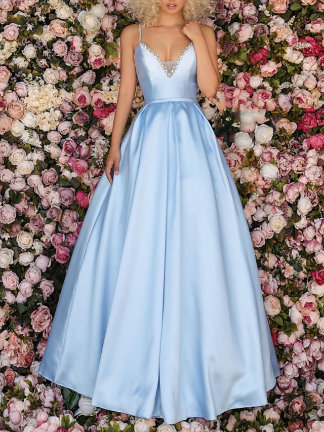 A-Line Elegant Beautiful Back Engagement Formal Evening Dress V Neck Sleeveless Floor Length Satin with Pleats Beading 2020
