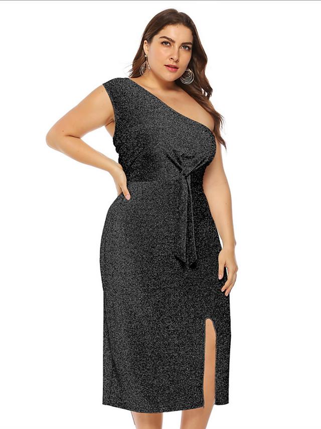 Women's Plus Size A-Line Dress Midi Dress - Sleeveless Solid Color Summer Off Shoulder Casual Sexy 2020 Black Blue Silver L XL XXL XXXL XXXXL