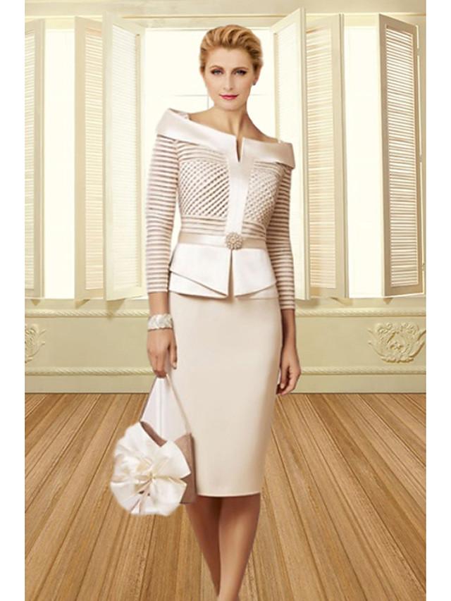 платье-футляр / колонна платье для матери невесты элегантное винтажное платье больших размеров с вырезом лодочкой длиной до колена атласное рукав 3/4 с поясом / кристаллами ленты 2020