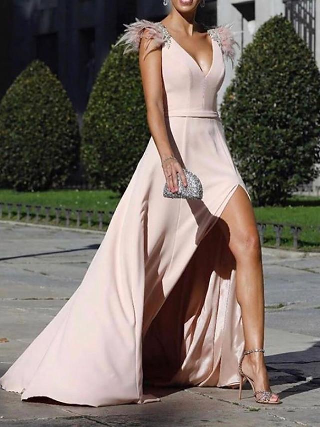 A-Line Beautiful Back Sexy Holiday Formal Evening Dress V Neck Sleeveless Sweep / Brush Train Chiffon with Split 2020