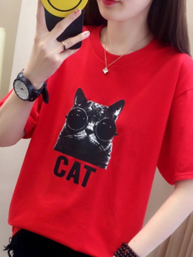 Women's Daily T-shirt Geometric Cartoon Print Short Sleeve Tops White Red Yellow