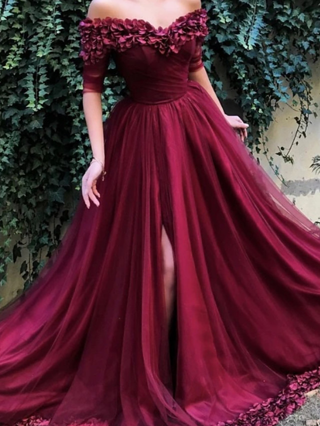 A-Line Floral Luxurious Engagement Formal Evening Dress Off Shoulder Half Sleeve Sweep / Brush Train Satin Tulle with Pleats Appliques 2020