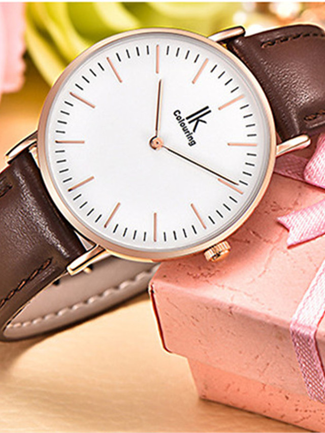 Women's Quartz Watches Quartz Minimalist Water Resistant / Waterproof Genuine Leather Analog - Golden+Black Black Blushing Pink One Year Battery Life / Japanese / Japanese