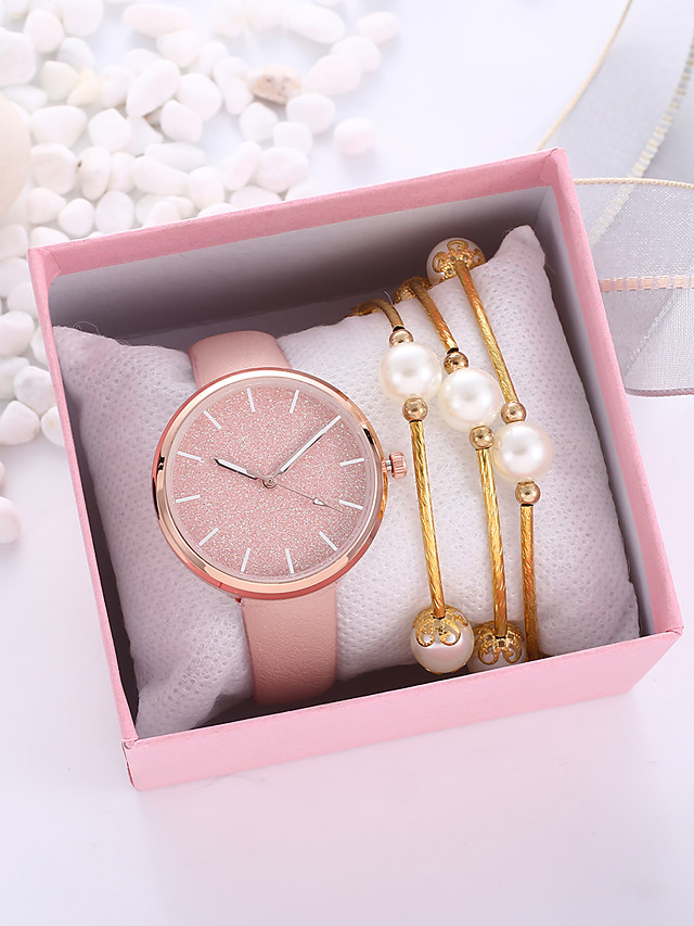 Women's Quartz Watches Quartz Modern Style New Arrival Chronograph PU Leather Pink Analog - Blushing Pink