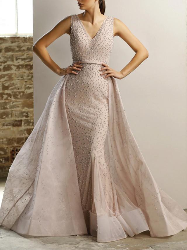 Mermaid Trumpet Elegant Sparkle Engagement Formal Evening Dress V Neck Sleeveless Detachable Tulle With Beading 2020 8068822 2020 248 39,Woman Wedding Dress Woman Cartoon Dress