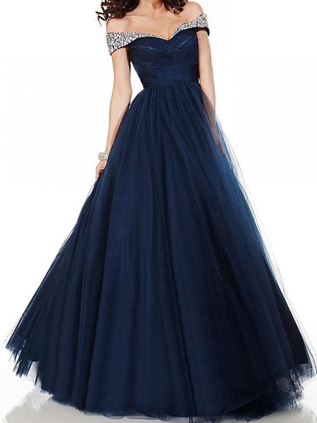 A-Line Elegant Glittering Engagement Formal Evening Dress Off Shoulder Short Sleeve Floor Length Tulle with Pleats Crystals 2020