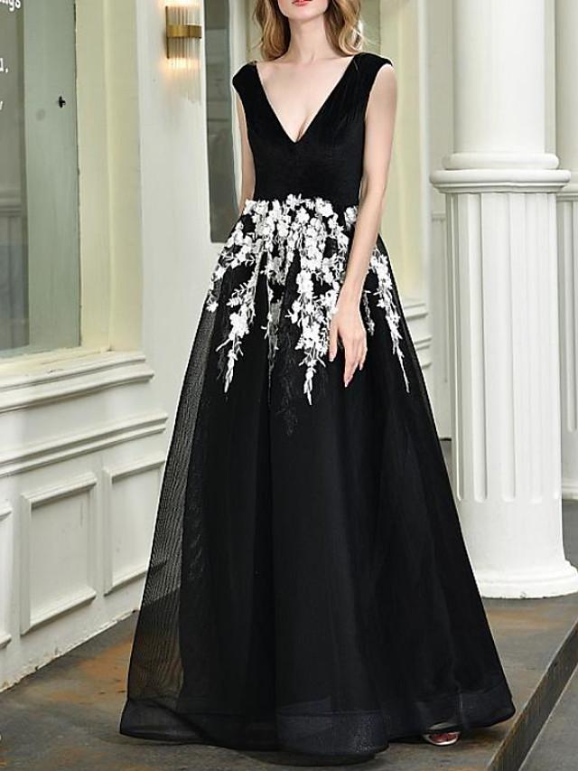 A-Line Elegant Floral Engagement Formal Evening Dress V Neck Sleeveless Floor Length Tulle with Appliques 2020
