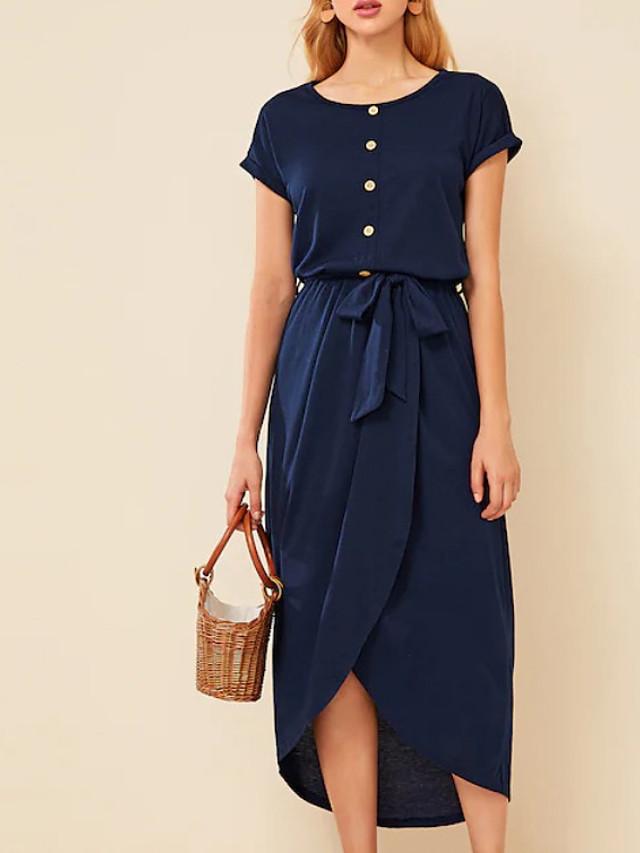 Women's Shift Dress Midi Dress - Short Sleeves Solid Color Summer Work Casual 2020 Navy Blue S M L XL XXL