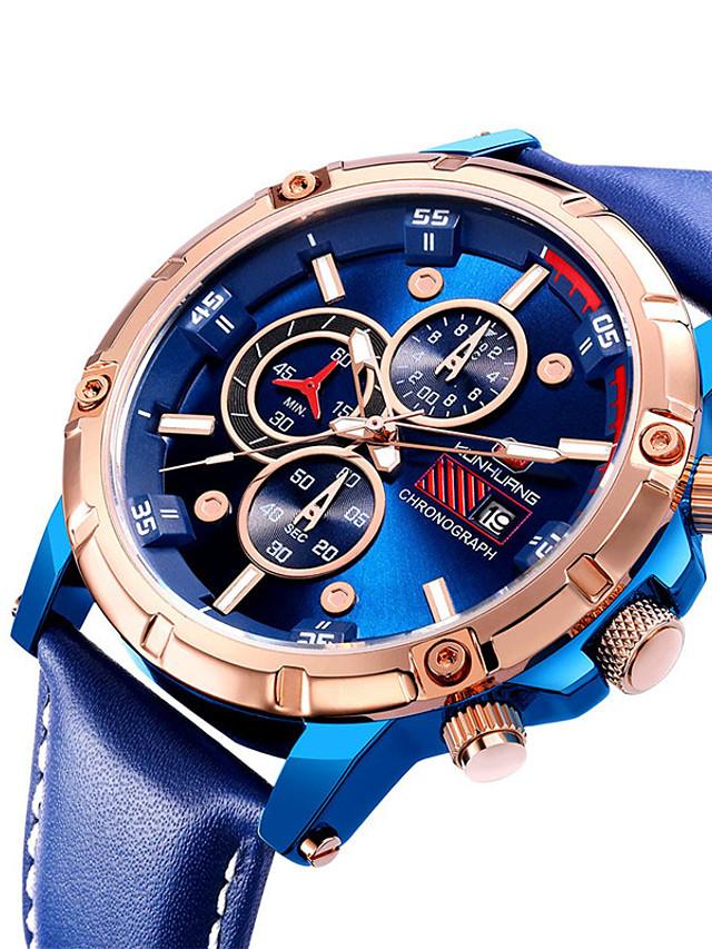 Men's Sport Watch Quartz Modern Style Stylish Casual Water Resistant / Waterproof Genuine Leather Analog - Digital - Black Blue Brown / Calendar / date / day