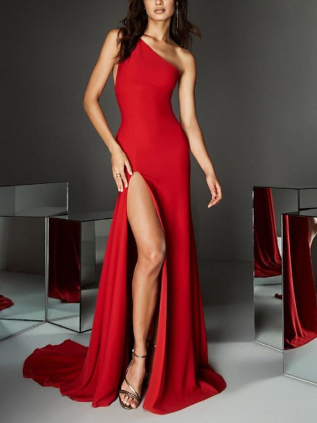 Sheath / Column Minimalist Sexy Engagement Formal Evening Dress One Shoulder Sleeveless Sweep / Brush Train Spandex with Split 2020
