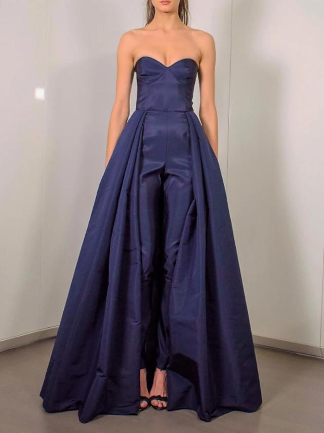 Jumpsuits Elegant Minimalist Engagement Formal Evening Dress Sweetheart Neckline Sleeveless Floor Length Taffeta with Pleats 2020