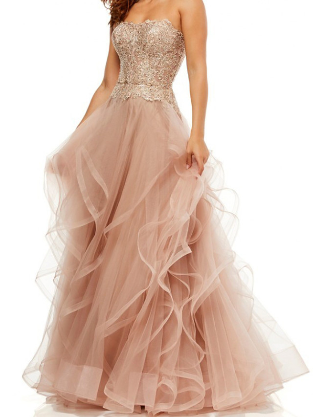 A-Line Elegant Vintage Engagement Formal Evening Dress Strapless Sleeveless Floor Length Tulle with Tier Embroidery 2020