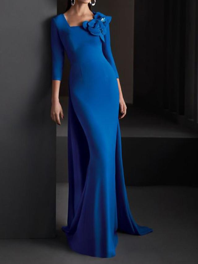 Mermaid / Trumpet Elegant Beautiful Back Engagement Formal Evening Dress Scoop Neck 3/4 Length Sleeve Sweep / Brush Train Spandex with Appliques 2020
