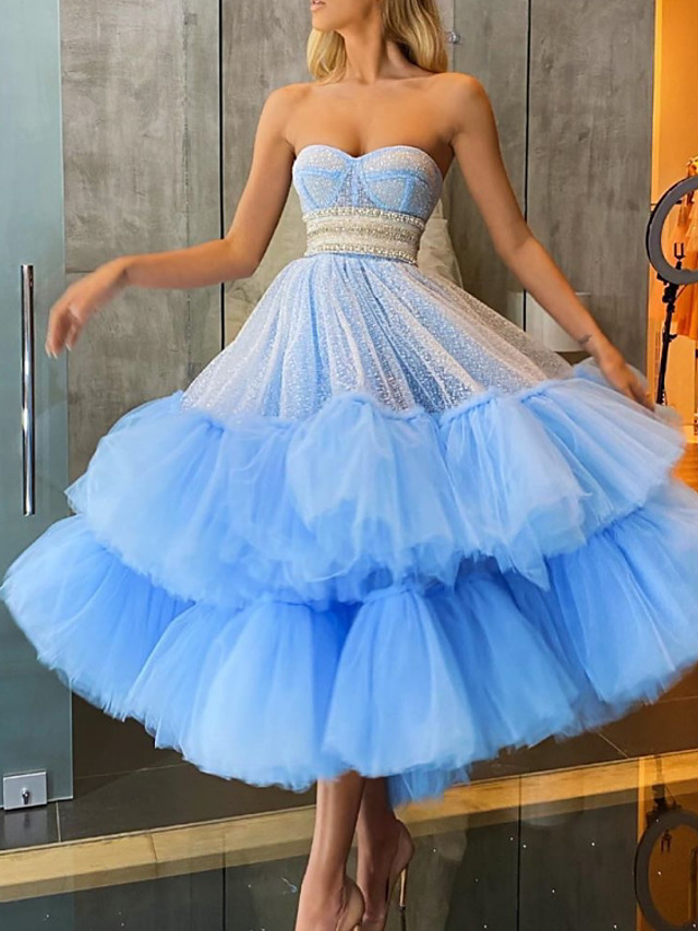 A-Line Glittering Luxurious Engagement Prom Dress Sweetheart Neckline Sleeveless Ankle Length Tulle with Tier 2020