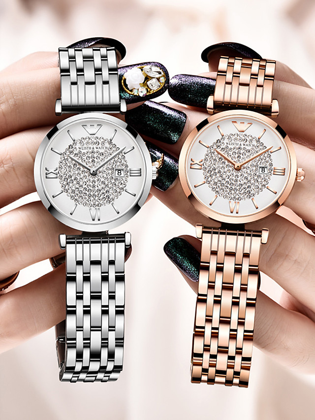 WLISTH Ladies Steel Band Watches Quartz Glitter Elegant Water Resistant / Waterproof Synthetic Diamond Stainless Steel Silver / Rose Gold Analog - Rose Gold Silver One Year Battery Life