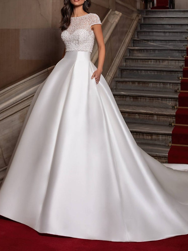 Ball Gown Wedding Dresses Sweetheart Neckline Sweep / Brush Train Lace Satin Cap Sleeve Formal with Beading 2021