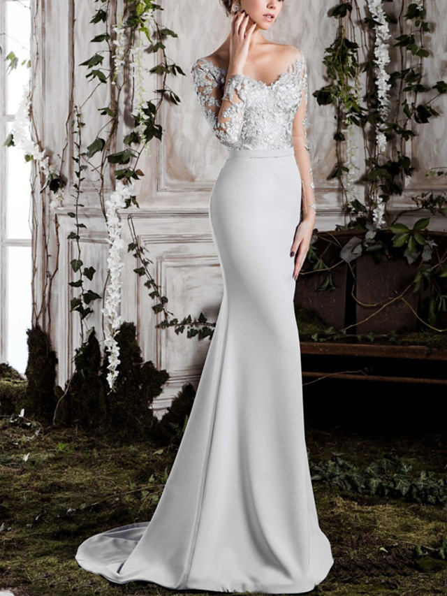 Mermaid / Trumpet Floral Sexy Engagement Formal Evening Dress Off Shoulder Long Sleeve Sweep / Brush Train Lace Satin with Appliques 2020