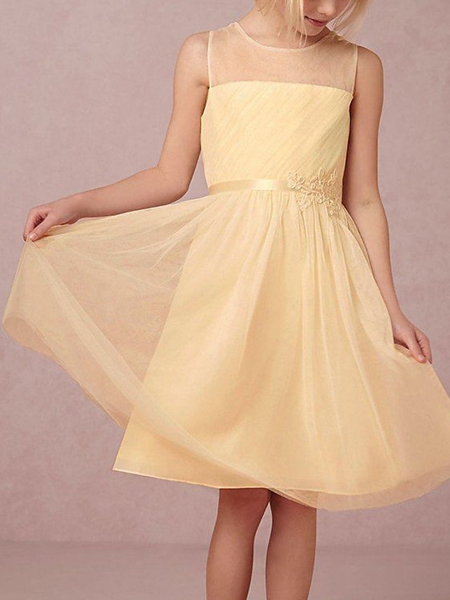 A-Line Round Knee Length Tulle Junior Bridesmaid Dress with Tier