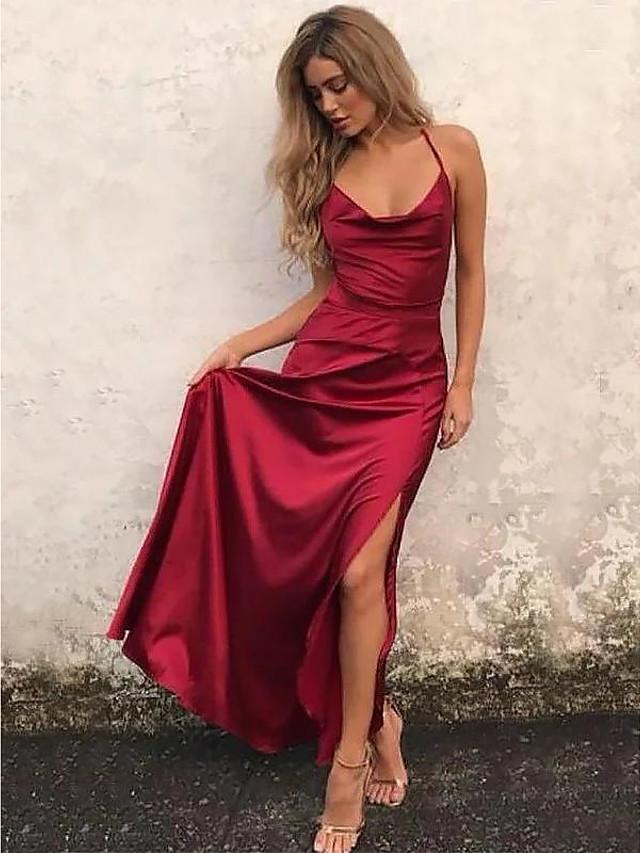 A-Line Beautiful Back Sexy Engagement Prom Formal Evening Dress Spaghetti Strap Sleeveless Floor Length Satin with Ruffles Split 2021