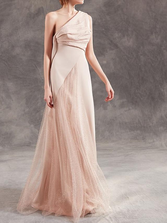 A-Line Elegant Beautiful Back Wedding Guest Formal Evening Dress One Shoulder Sleeveless Floor Length Satin with Sequin 2020