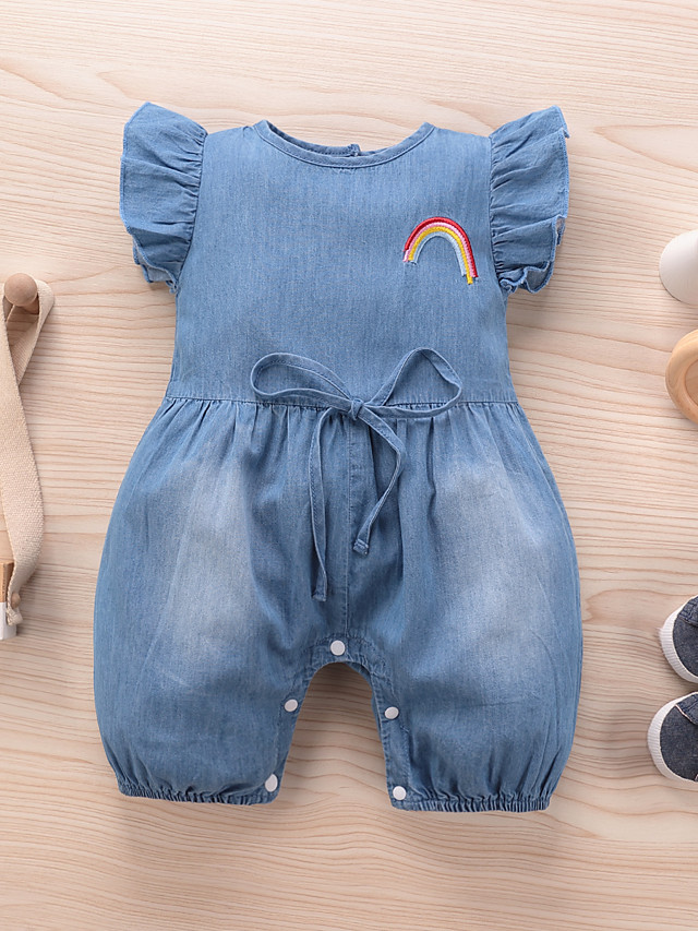 Baby Girls' Active Basic Blue Solid Colored Embroidered Sleeveless Bodysuit Blue