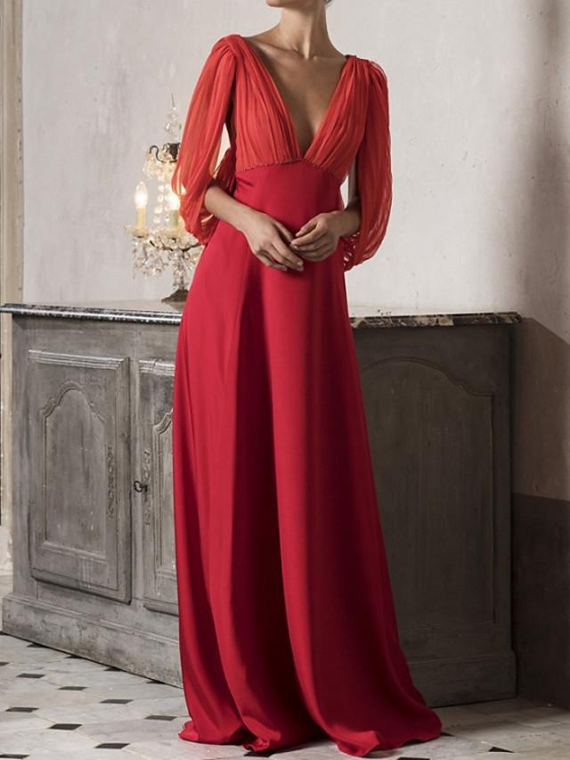 A-Line Beautiful Back Minimalist Engagement Formal Evening Dress V Neck 3/4 Length Sleeve Sweep / Brush Train Satin Tulle with Sleek 2020