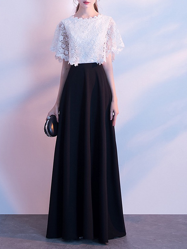 A-Line Color Block Elegant Wedding Guest Formal Evening Dress Jewel Neck Short Sleeve Floor Length Lace with Lace Insert 2020