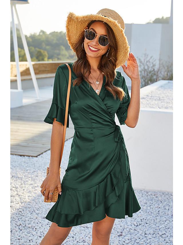Women's Wrap Dress Short Mini Dress - Short Sleeve Solid Color Ruffle Summer V Neck Work Elegant 2020 Blue Wine Green S M L XL