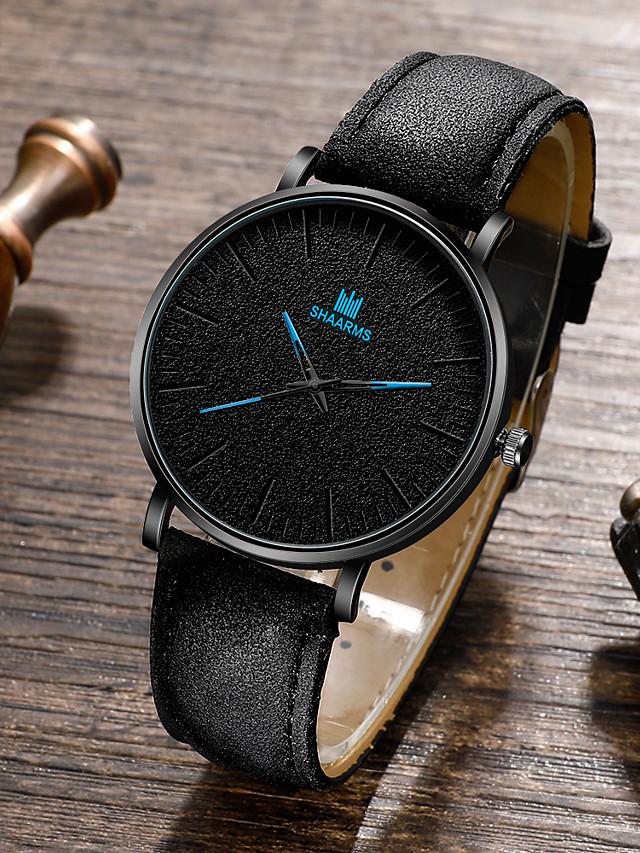 Men's Sport Watch Quartz Vintage Style Stylish Classic Altimeter PU Leather Black / Brown / Chocolate Analog - White Black Blue / Chronograph / Large Dial