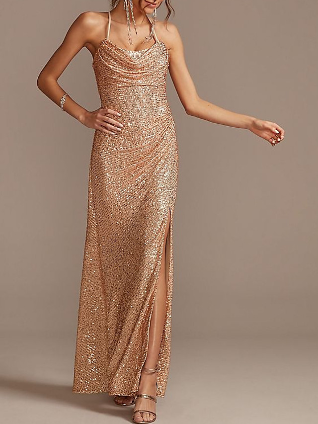 Sheath / Column Sexy Sparkle Engagement Formal Evening Dress Halter Neck Sleeveless Floor Length Sequined with Ruched Split 2020