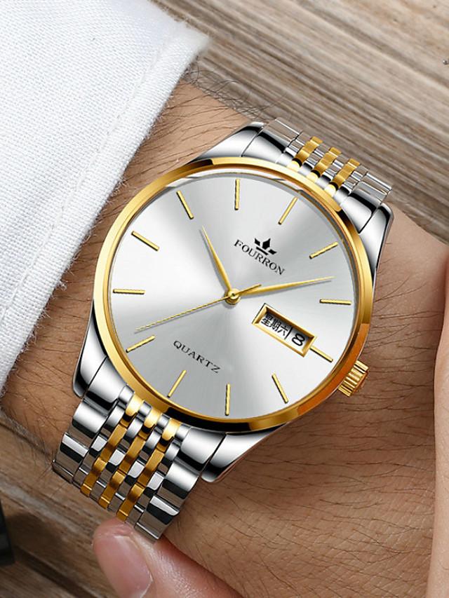 Men's Sport Watch Quartz Stylish Classic Water Resistant / Waterproof Stainless Steel Black / Silver / Gold Analog - Digital - Black+Gloden White+Golden White+Silver / Calendar / date / day