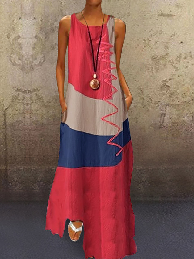 Women's A-Line Dress Maxi long Dress - Sleeveless Color Block Patchwork Summer Plus Size Casual Holiday Vacation 2020 White Red Khaki Dusty Blue S M L XL XXL XXXL XXXXL XXXXXL