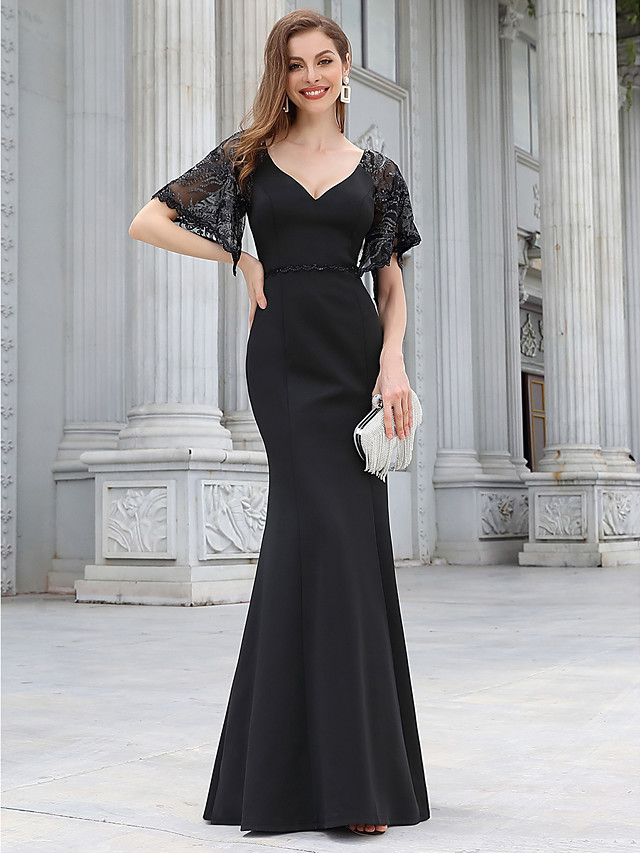 Mermaid / Trumpet Elegant Vintage Party Wear Formal Evening Dress V Neck Half Sleeve Floor Length Jersey with Sequin 2020