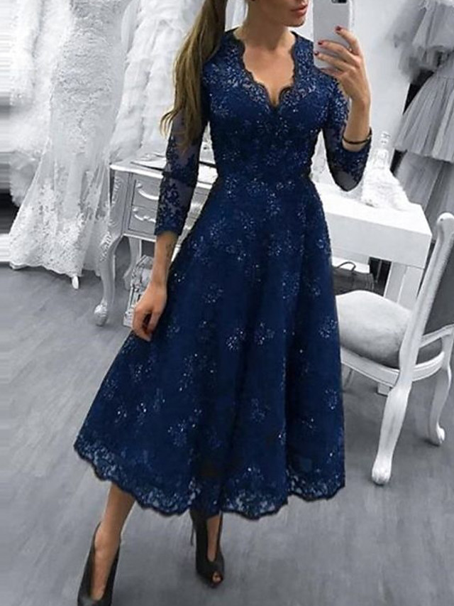 A-Line Elegant Vintage Wedding Guest Prom Dress V Neck 3/4 Length Sleeve Ankle Length Lace with Lace Insert 2020